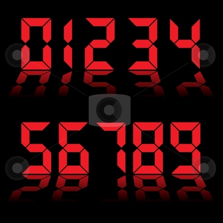 Digital numbers clock red stock vector clipart, Red digital clock readout with numbers reflected in black background by Michael Travers