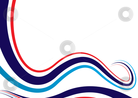 Modern swirl background stock vector clipart, Abstract flowing background with red white and blue colors by Michael Travers