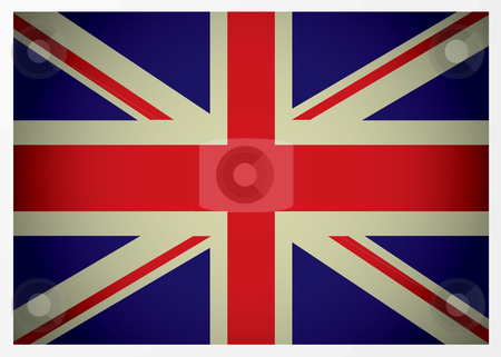 Aged british flag stock vector clipart, Aged great british flag icon with red white and blue colours by Michael Travers