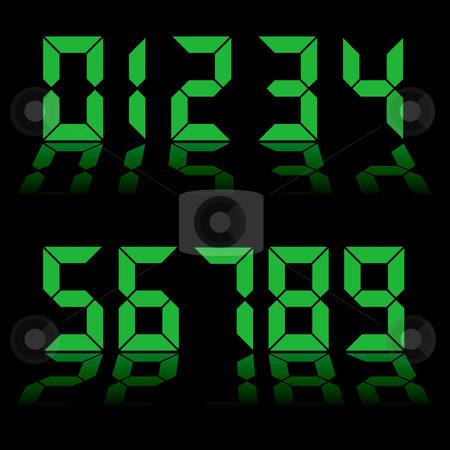 Digital numbers clock stock vector clipart, One to nine digital numbers in green with reflection in black background by Michael Travers