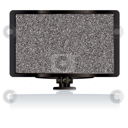 LCD tv static stock vector clipart, Modern LCD TV or television computer monitor with static by Michael Travers