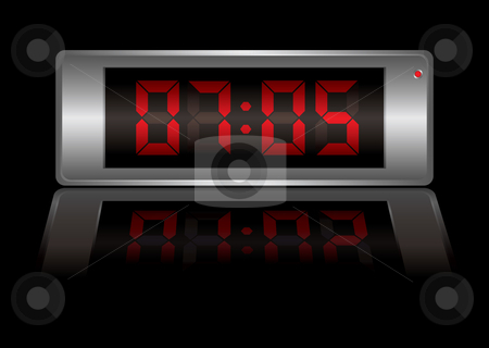 Digital alarm clock stock vector clipart, Digital alarm clock with time to wake up and light reflection by Michael Travers