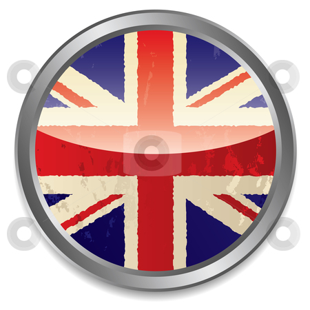 British flag icon stock vector clipart, Grunge british flag icon with light reflection and silver bevel by Michael Travers