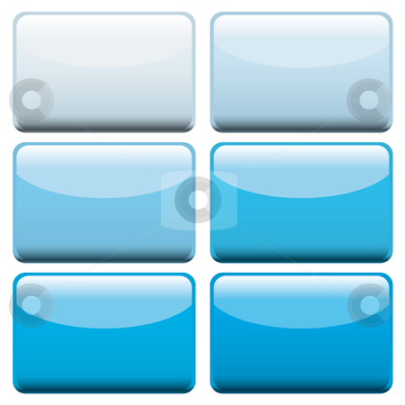 Blue web buttons stock vector clipart, Collection of six lozenge shaped web buttons with blue hues by Michael Travers