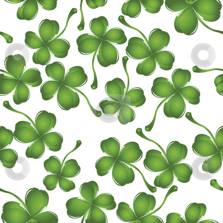 Clover pattern stock vector clipart, Bckckground with fresh four leaves clover, pattern by Richard Laschon