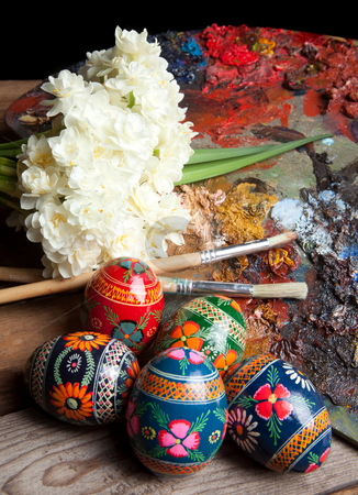 Russian easter eggs and pallet stock photo, Painter's pallet with brushes and russian easter eggs by Anneke