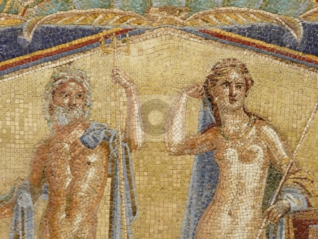 Multi-colored Roman wall mosaics of Venus and Neptune stock photo