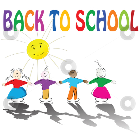 Back to school stock vector clipart, Back to school illustration with cute kids holding hands and smiling sun by Richard Laschon