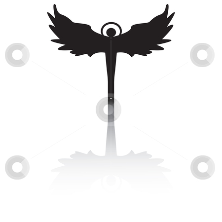 Angel silhouette with shadow stock vector clipart, Angel silhouette with shadow, isolated vector on white by Richard Laschon