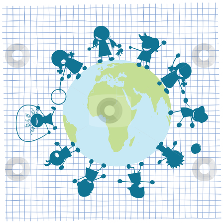 Children and globe illustration stock vector clipart, Children and globe illustration, vector art by Richard Laschon