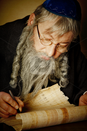 Scroll writing stock photo, Old jewish man with beard writing on a parchment scroll by Anneke