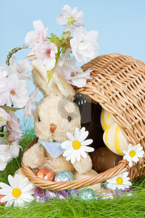 Basket with easter bunny stock photo, Easter bunny and eggs in a basket by Anneke