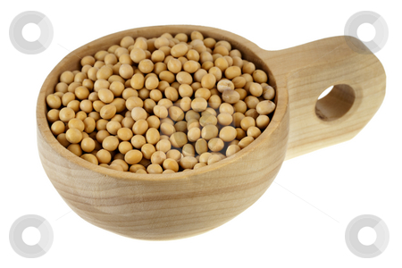 Scoop of yellow soy beans stock photo, Yellow soy beans on a rustic, wooden, scoop or bowl, isolated on white background by Marek Uliasz