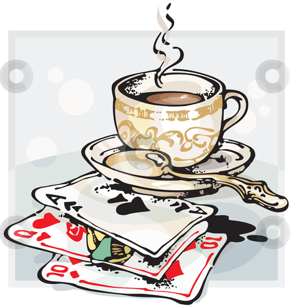 Cup of Coffee and Playing Cards stock vector clipart, Cup of Coffee and Playing Cards by Oleg Chernovoltsev