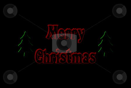 Christmas Card stock photo, Christmas card with writing and trees over black background by Superdumb