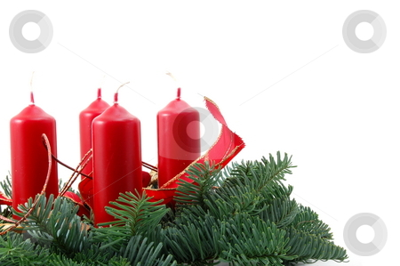 Christmas wreath stock photo, Christmas wreath isolated on white background with red candles by Gunnar Pippel