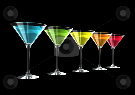 3D cocktail glasses stock photo, Cocktail glasses isolated on a black background. three dimensional illustration by Laurent Davoust