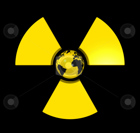 Radioactive world globe stock photo, 3D isolated world globe in the center of a radioactive symbol icon by Laurent Davoust