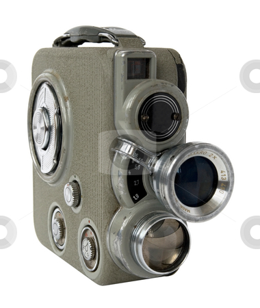 Old 8mm camera stock photo, Old 8mm movie camera on white background by Laurent Davoust