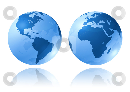 Blue glossy globes stock photo, Two blue glossy earth globes on white background - three dimensional illustration by Laurent Davoust