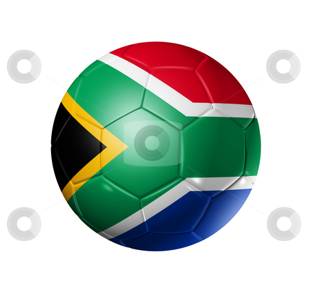 Soccer football ball with south africa flag stock photo, 3D soccer ball with south africa flag, world football cup 2010. isolated on white with clipping path by Laurent Davoust