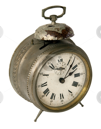 Alarm clock stock photo, Old vintage rusty alarm clock by Laurent Davoust