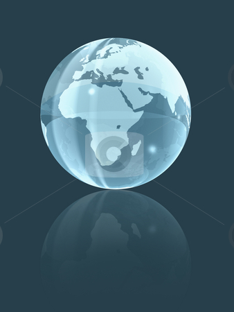 3D world glass globe stock photo, Isolated background glass earth globe. three dimensional illustration by Laurent Davoust