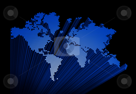 Three dimensional world map stock photo, Three dimensional spotted world map on black background by Laurent Davoust