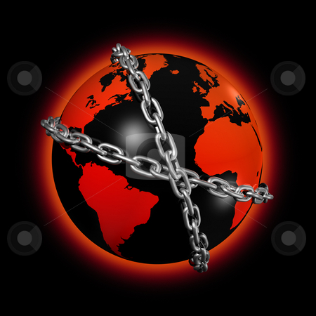 Chained world globe stock photo, 3D icon illustration of a chained world globe by Laurent Davoust