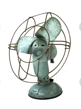Electric Fan stock photo, Old rusty electric fan isolated on white background by Laurent Davoust