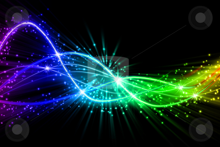 Glowing lines stock photo, Abstract colorful glowing lines background with stars. by Dejan Lazarevic