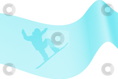 Snowboarder Over Lines stock photo, Silhouetteof a snowboarder over lines background by Superdumb
