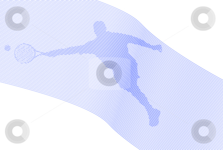 Tennis Over Lines stock photo, Tennis player silhouette over waving lines and white background by Superdumb