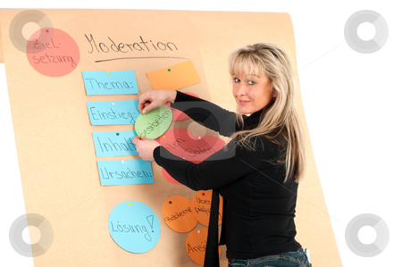 Educates young presenter on a flip chart stock photo, Educates young presenter on a flip chart by Marcel Paschertz