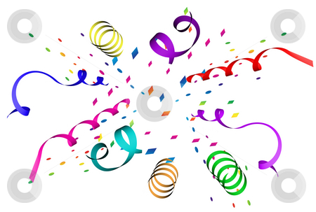 Confetti Explosion stock photo, Confetti explosion in different colors over white background by Superdumb