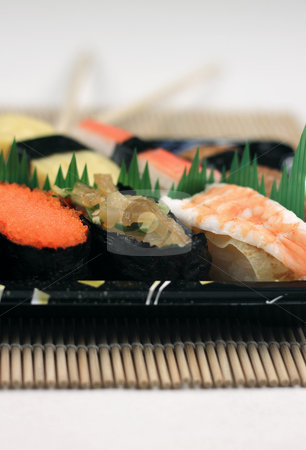 Sushi stock photo, A tray of sushi by Adrin Shamsudin