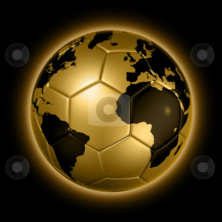 Gold soccer football ball World globe stock photo, 3D isolated gold soccer ball with world map, world football cup 2010 by Laurent Davoust