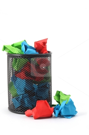 Paper trash in office stock photo, Paper trash in office with copyspace for a text message by Gunnar Pippel