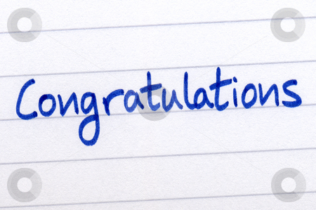 Congratulations, written with blue ink on white paper. stock photo, Congratulations, written with blue ink on white paper. by Stephen Rees