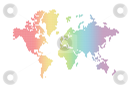 Rainbow world map stock photo, Rainbow spotted world map on white background by Laurent Davoust