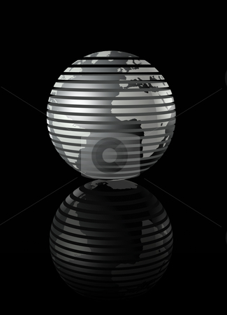 Silver glossy globe on black background stock photo, Metal glossy earth globe on black background - three dimensional illustration by Laurent Davoust