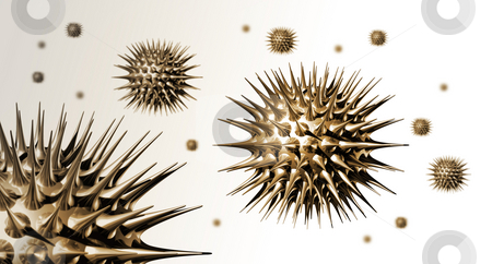 3D Metal Virus stock photo, Three dimensional illustration of many metal virus in white space by Laurent Davoust