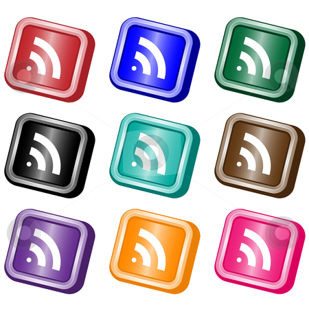 RSS feed web buttons stock vector clipart, RSS square web buttons set in nine assorted colors. Isolated on white. by toots77