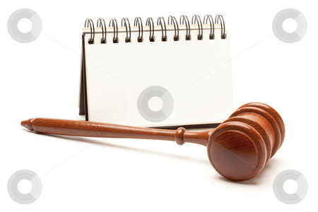 Blank Spiral Note Pad and Gavel on White. stock photo, Blank Spiral Note Pad and Gavel Isolated on White. by Andy Dean