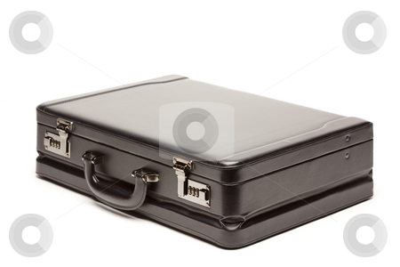 Black Briefcase on White stock photo, Large Black Briefcase Isolated on a White Background. by Andy Dean