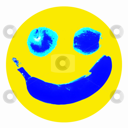 Smiley icon stock photo, Smiley icon illustration, stylized fruit background for web design by Richard Laschon