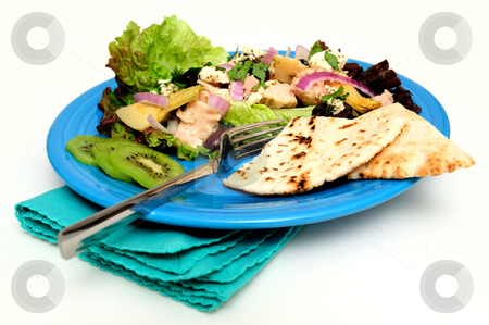 Tuna Salad With Pita Bread stock photo, Tuna salad on a bed of Red Leaf Lettuce with Artichoke hearts, Kalamata olives, red onions and Feta Cheese, Kiwi slices and pita bread served on a turquoise colored plate by Lynn Bendickson