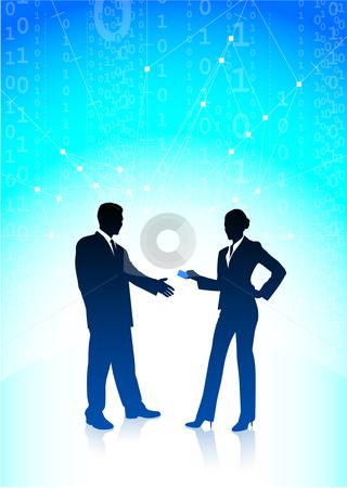 Businessman and businesswoman on blue internet background stock vector clipart, Original Vector Illustration: businessman and businesswoman on blue internet background AI8 compatible by L Belomlinsky