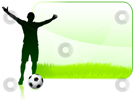 Soccer Player with Nature Frame stock vector clipart, Soccer Player with Nature Frame Original Vector Illustration by L Belomlinsky