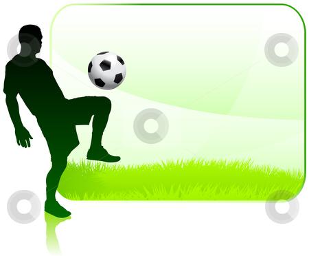 Soccer Player with Nature Frame stock vector clipart, Soccer Player with Nature Frame Original Vector Illustration by L Belomlinsky